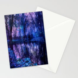 Enchanted Forest Lake Purple Blue Stationery Cards