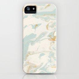 Marble - Cream & Blue iPhone Case