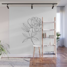 Botanical illustration line drawing - Peony Wall Mural