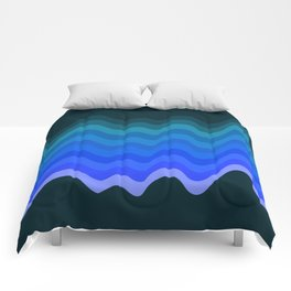 Blue Wave Retro Ripple Comforters