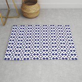 Geometric Pattern - Diamonds and Dots - Navy Blue & White Rug