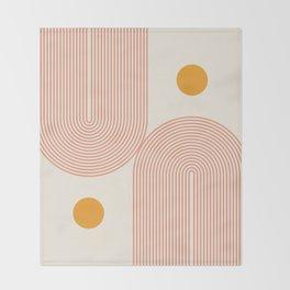 Abstraction_SUN_DOUBLE_LINE_POP_ART_Minimalism_001C Throw Blanket