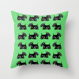 Scottie Dogs Green & Black Pattern Throw Pillow