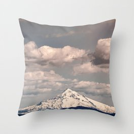 Mount Hood III - Snow Capped Mountain Adventure Nature Photography Throw Pillow