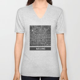 Beijing Map #1 map yellow Unisex V-Neck
