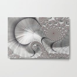 Almost Silver Fractal Art Metal Print