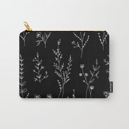 New Black Wildflowers Carry-All Pouch
