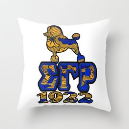 Sigma Gamma Rho African Print with Poodle and 1922 Throw Pillow