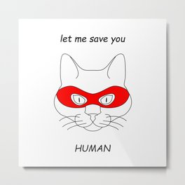 Cat superhero Metal Print
