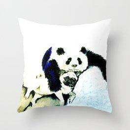 Pug and Panda after food Throw Pillow