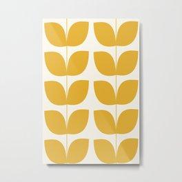 Mid Century Modern Leaves Yellow #society6 #buyart  Metal Print