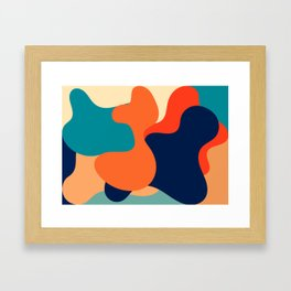 Retro 70's and 80's colorful fluid abstraction Framed Art Print