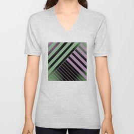 Diagonal Green and Violet Unisex V-Neck