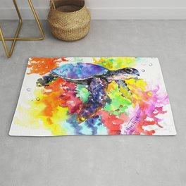Sea Turtle in Coral Reef design, sea world colorful coral sea world design Rug