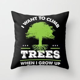 Funny Arborist Tree Trimmer Climber Gift Idea Throw Pillow