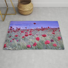 Dream Poppies. Purple Sunset Rug
