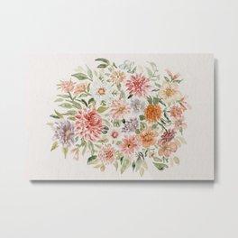 Loose Peachy Dahlia Watercolor Bouquet Metal Print