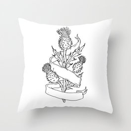 Scottish Thistle With Ribbon Drawing Black and White Throw Pillow