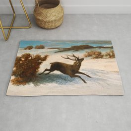 "Gustave Courbet ""Deer Running in the Snow"" Rug"
