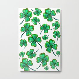 Four Leaf Clovers Pattern Metal Print