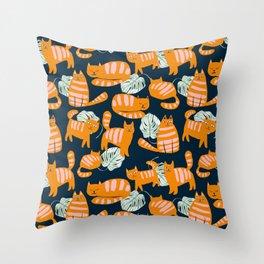 Whimsicat #illustration #animalprint #pattern Throw Pillow