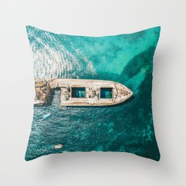 Ay Ay Captain, Aerial Print, Shipwreck Print, Art Print, Modern Wall Art, Sea Print, Ocean Print Throw Pillow