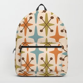 Mid Century Modern Abstract Star Pattern 441 Orange Brown Blue Olive Green Backpack