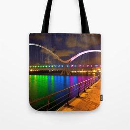 Fantastically Colorful Krishna River Bridge Reflection At Night Vijayawada India Asia Ultra HD Tote Bag