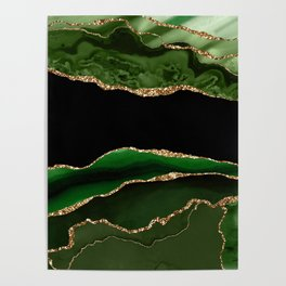 Emerald Marble Glamour Landscapes Poster
