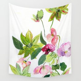 green clematises, pink hellebores Wall Tapestry