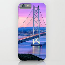 Lit Akashi Strait Bridge Under Vibrant Purple Sky iPhone Case
