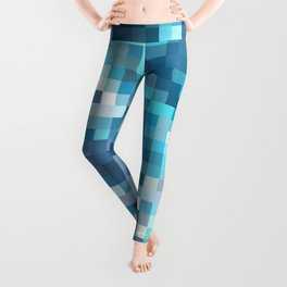 geometric square pixel pattern abstract in blue Leggings