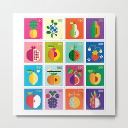 Fruit Stamps 16 Metal Print