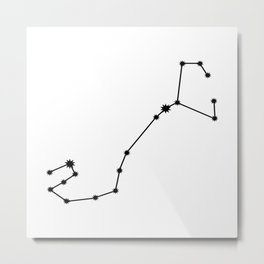 Scorpio Star Sign Black & White Metal Print