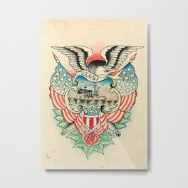 Vintage Navy Tattoo Design Metal Print