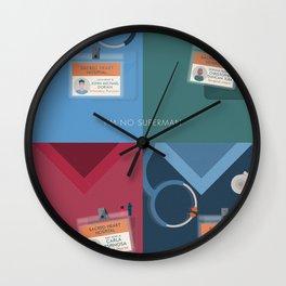 Alternative Scrubs poster, coats, John Dorian, JD, Turk, Carla Espinosa, Elliot Reid, Zach Braff, Bill Lawrence Wall Clock
