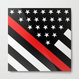 Firefighter: Black Flag & Red Line Metal Print