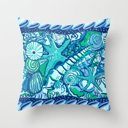 She Sells Sea Shells Blue Throw Pillow