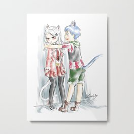 Happy and the kabe-don Metal Print