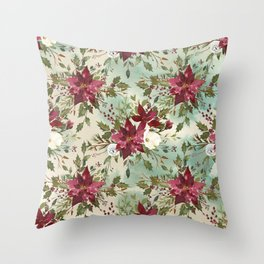 Hand painted burgundy white green watercolor floral Throw Pillow