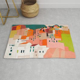 italy coast houses minimal abstract painting Rug