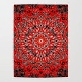 Rich Red Vintage Mandala Poster