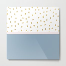 French blue blush pink gold glitter color block Metal Print
