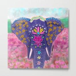 Purple india elephant Metal Print