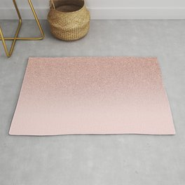 Trendy Rose Gold Faux Glitter Blush Pink Ombre Color Block Rug