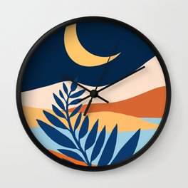 Moon + Night Bloomer / Mountain Landscape Wall Clock
