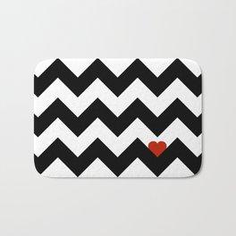 Heart & Chevron - Black/Classic Red Bath Mat