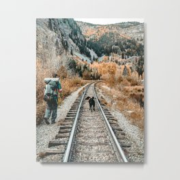 Autumn Tracks // Backpacking the Railroad Fall Tree Landscape with Black Dog Metal Print