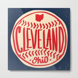 Hand Drawn Baseball for Cleveland Ohio with custom Lettering Metal Print