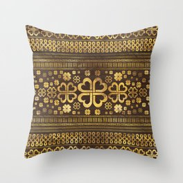 Shamrock Four-leaf Clover Wood and Gold Throw Pillow